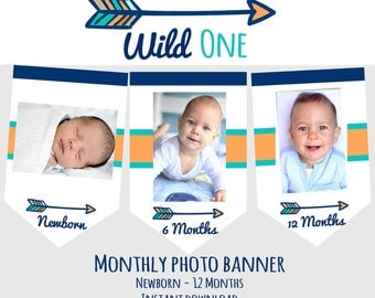 WILD ONE Birthday party decorations Wild One Month Photo banner Monthly Photo banner Arrow Month banner Boy Tribal Milestone banner
