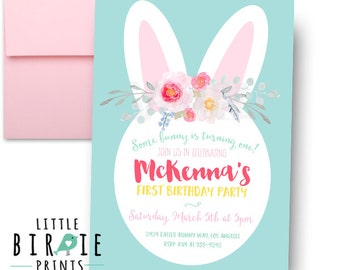 BUNNY BIRTHDAY INVITATION Bunny First Birthday Party Invitation Watercolor Some bunny is turning one invitation watercolor mint