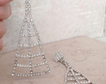 Rhinestone Earrings Long Shoulder Dusters Pave Prong Set Pierced Vintage 110416RC