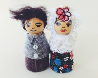 Diego and Frida pegdoll ornaments ooak