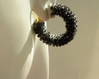 Vintage 1960s Earrings Black Seed Beaded Clip On Hoops - MOD Clearance