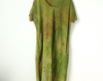 small medium avocado greenery green cotton with pockets dress hand dyed and printed with native flower seed pods
