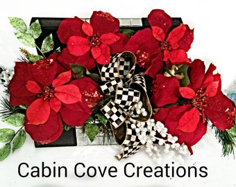 Christmas Poinsettia Centerpiece Courtly Check Ribbon Bow Mackenzie Childs Holiday Winter Black Mirrored Chest by Cabin Cove Creations