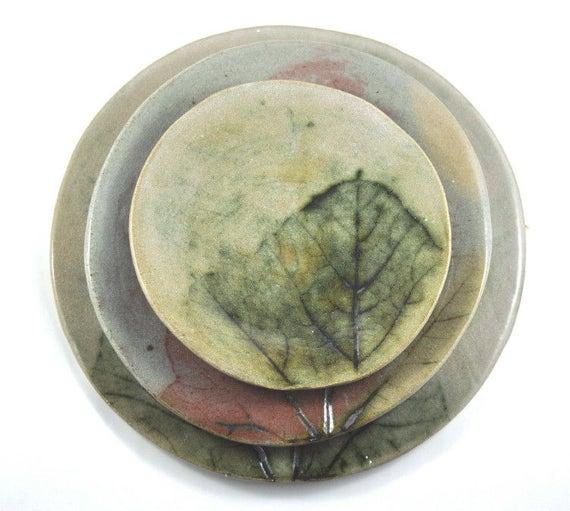 Handmade Ceramic Plate Set  -Dinnerware -  Pumpkin Leaf Decoration - Rustic Pottery - Set of three - Unique Home Decor in Neutral Tones
