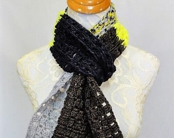 super fun color block scarf carbon grey chocolate brown and neon yellow 100% superwash merino