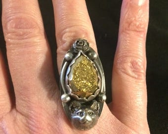 Sterling Silver 925, White Copper, and Gold Teardrop Druzy Cabochon Cat Ring size 7 3/4