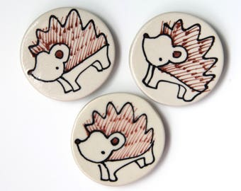 Hedgehog Magnet Handmade Ceramic Refrigerator Magnet Hedgehog Illustration Animal themed Pottery Cute Magnets Small Gifts Under 10