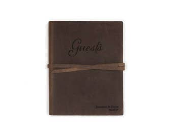 "Brown Leather Guest Book, 5.25"" x 6.75"", Wedding guest book, Various colors"
