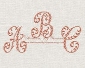 Machine Embroidery - 4x4 - Floral Cross Stitch Monogram - Machine Cross Stitch Font - Large Ornamental Monogram - 26 Initials - HBS-ORN-2