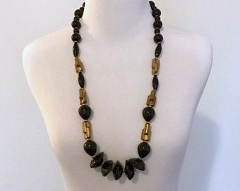 1970s beaded chunky black gold necklace