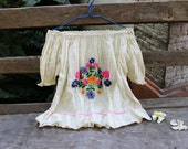 M-XL Short Sleeves Bohemian Embroidered Top - Ivory I