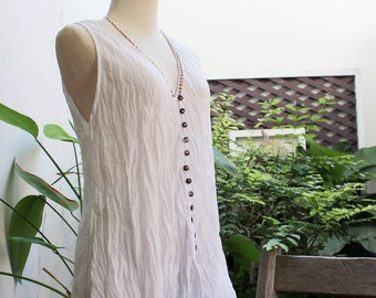 Comfy Roomy V Sleeveless Top - White