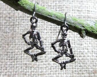CLEARANCE Human Skeleton Stainless Steel Earrings ~ Skeletons Goth Halloween Jewellery Jewelry