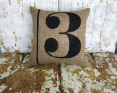Painted Feedsack Style NUMBER Burlap PillowThrow Accent Pillow Custom Colors Available Home Decor