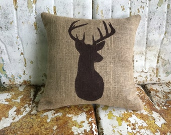 Deer Pillow Burlap Cotton Canvas Pillow Rustic Country DEER Throw Accent Pillow Custom Colors Available Home Decor Rustic Decor