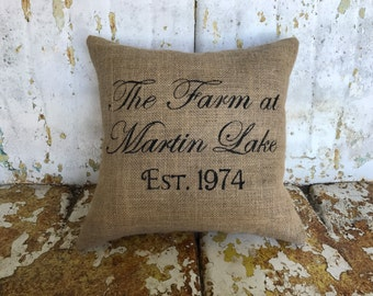 Personalized Farm Name or Family Name and Established Date Burlap Pillow Throw Accent Pillow Custom Colors Wedding Anniversary Gift Home Dec