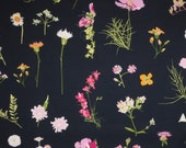 Delicate Botanical Floral Print on Navy Pure Cotton Fabric--By the Yard