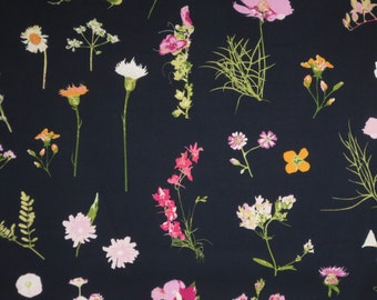 REMNANT--Delicate Botanical Floral Print on Navy Pure Cotton Fabric--1 & 1/3Yard