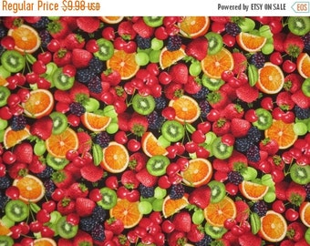 ON SALE Fresh and Colorful Mixed Fruit Print Pure Cotton Fabric--One Yard
