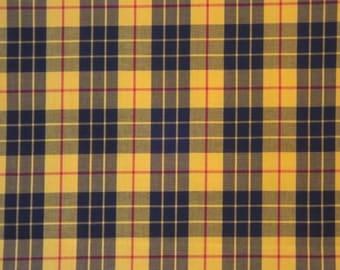 Classic Yellow & Black Tartan Plaid Fine Twill Cotton Shirting Fabric--By the Yard