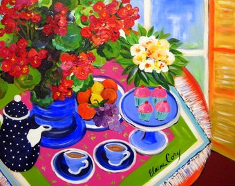 Tea 4 Two Large Still life Original Painting 24 x 36 Fine art by Elaine Cory