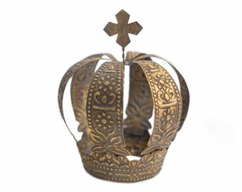 Gold Crown Cake Topper, Antique Gold Crown, Cross Top, Ava