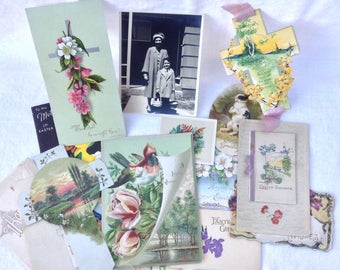 Vintage  EASTER Cards and Ephemera 1883-1950s Muse Lot Collection Interesting and Pretty finds for Repurpose, Framing, Scrapbook, Found Art