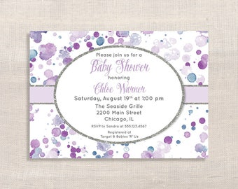lavender baby shower invitation lavender splash shower invite purple invite gender neutral