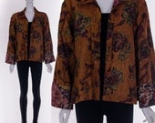 Vintage Burnt Orange Floral Jacket Watercolor Art Print Asian Style Brocade Jacket Reversible Leopard Print Coat Boho Chic Klimt One Size