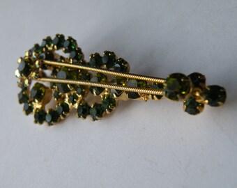 D&E Juliana green olivine aurora borealis violin figural brooch pin.