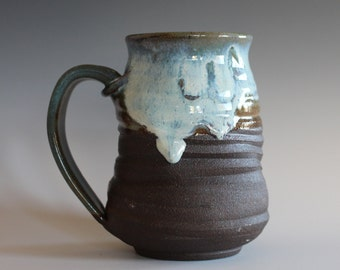 LARGE Pottery Mug, 18 oz, unique coffee mug, ceramic cup, handthrown mug, stoneware mug, wheel thrown pottery mug, ceramics and pottery