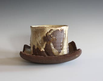 Tea Cup with a Saucer, Yunomi, Tea Cup, handmade ceramic tea cup, pottery cup, wheel thrown, ceramics and pottery, cup by Kazem Arshi