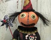 L'Art populaire Halloween poupée poupée tête de citrouille - Clown fantaisiste Pierre