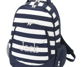 In Stock Ready to Ship Personalized Monogrammed Navy Stripe Backpack -- Free Monogramming--FAST TURNAROUND