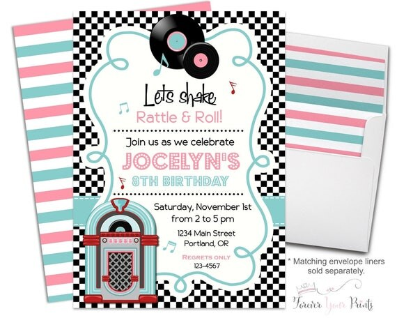 50s Birthday Invitation Fifties Birthday Invitation Girls Sock – 1950s Party Invitations