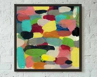 Simply Pretend 6 of 6 // Modern Abstract Art Original Bold x8 Mixed Media Acrylic Painting on Canvas Panel, Free US Shipping, Lisa Barbero