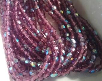 3mm Firepolish, Amethyst AB, Czech Glass Firepolish, 50 Beads per Strand, Priced per Strand