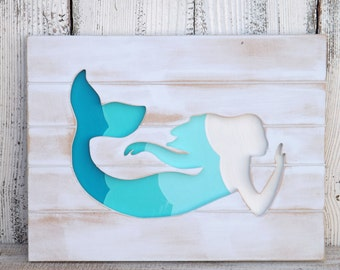 Handmade Wood Mermaid Sign~Mermaid Wall Art~Beach Decor~Wood Mermaid Decor