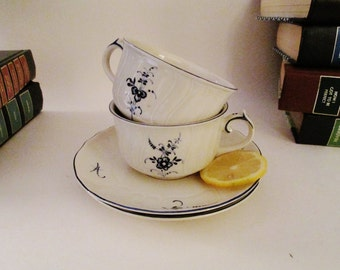 Vieux Luxembourg Villeroy & Boch Teacups and Saucers, Two Blue and White Teacups, French Country, Chinoiserie Decor