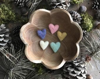 Felted wool hearts, set of 5, Unicorn Rainbow, waldorf teacher valentine, rainbow felt hearts, bright wool hearts, whimsical gift