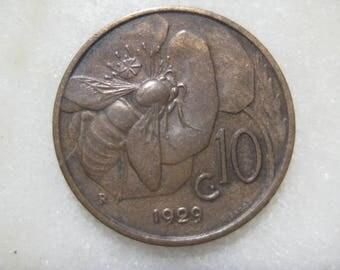 1929, Italy, Copper Coin, 10 Centesimi, Honey Bee and Vittorio Emanuele III