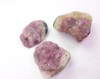 Watermelon Tourmaline Rough Top Cab. Bi Color Tourmaline Cabochon.  Rough Top, Flat Back. Can BE dRiLLeD.  3 Pc  17x15mm +/-  32 cts TM2269