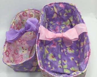 Fabric Storage Box - Nesting Fabric Box - Nursery Storage Box - Purple Butterflies fabric box - Fabric Storage Container, Fabric Storage Bin