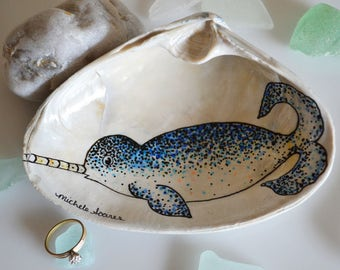 Blue Narwhal Ring Dish, Whale Ring Holder, Whale Decor, Narwhal Art, Jewelry Dish, Narwhal Gift
