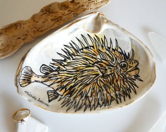 Blowfish Ring Dish, Hand Painted Jewelry Holder, Puffer Fish Art on a Clam Shell, Nautical Decor