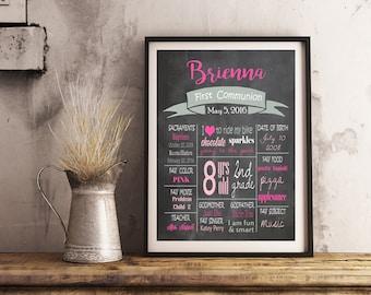 First communion chalkboard sign - Girls Baptism 1st communion poster printable sign - DIGITAL sign! Digital- JPEG File - Any Size