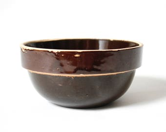 Small Antique Stoneware Bowl ... Brown Glazed Ceramic Dish, Rustic Mixing Bowl, Petite Serving Bowl, Vintage Pottery, Farmhouse Modern