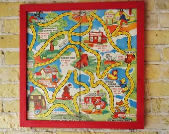 Framed vintage Uncle Wiggily's game board in red reclaimed wood Frame, bright graphics, dice board game fun game based onvintage
