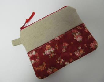 "Zipper Pouch/4""x5""/Linen x Rose"