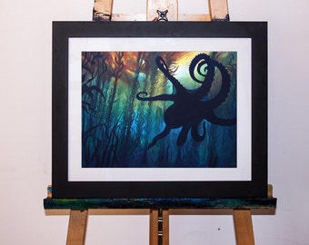 Acrylic Painting Kelp Forest and Octopus Underwater Art Print